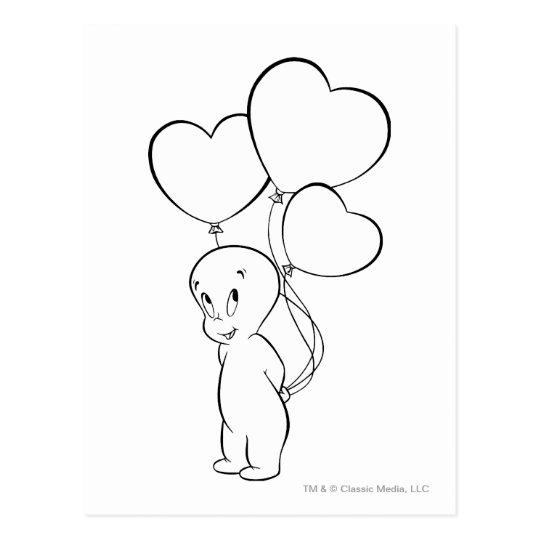 Casper Heart Balloons Postcard