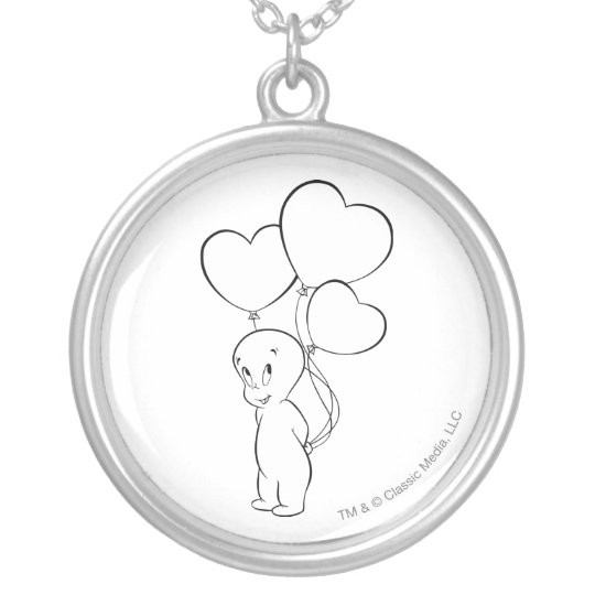 Casper Heart Balloons Silver Plated Necklace