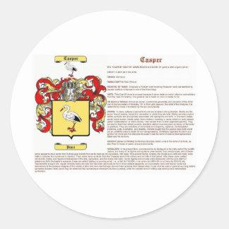Casper (meaning) classic round sticker