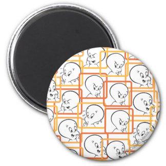 Casper Orange Squares 2 Inch Round Magnet