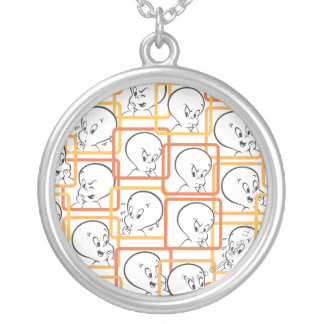 Casper Orange Squares Silver Plated Necklace