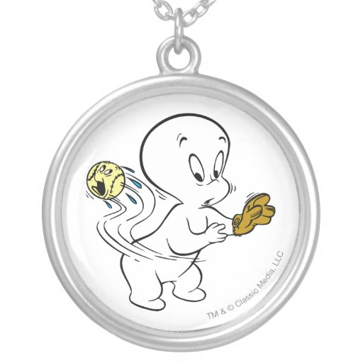 Casper Playing Baseball Round Pendant Necklace