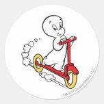 Casper Riding Scooter Classic Round Sticker