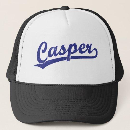 Casper script logo in blue trucker hat