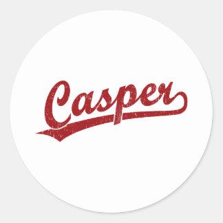 Casper script logo in red classic round sticker