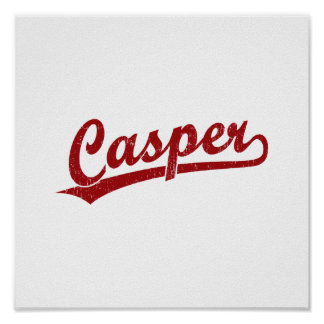 Casper script logo in red poster