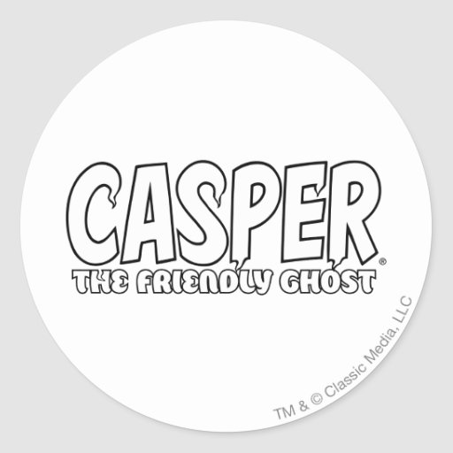 Casper the Friendly Ghost White Logo Classic Round Sticker