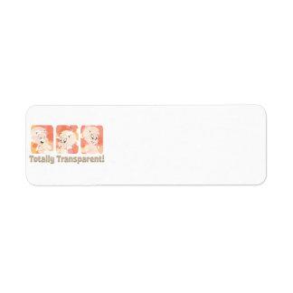 Casper totalmente transparente etiqueta de remite