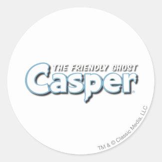 Casper White Logo Classic Round Sticker