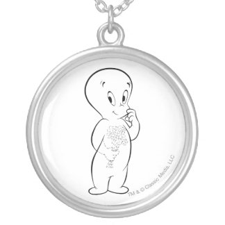 Casper with Flowers Silver Plated Necklace