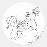 Casper y muñeco de nieve etiquetas redondas