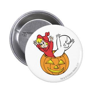 Casper y Wendy en calabaza Pin Redondo De 2 Pulgadas