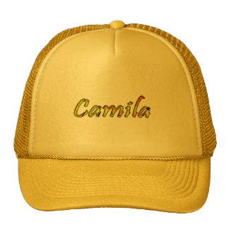 Casquillo amarillo de la malla de Camila Gorro