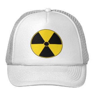 Casquillo amarillo del símbolo de la radiación gorro de camionero