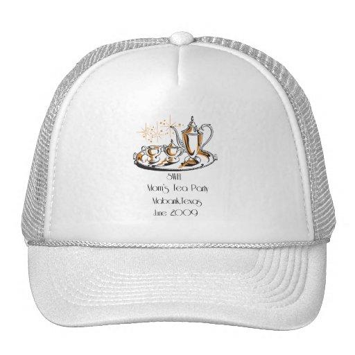 Casquillo blanco de la bola de la fiesta del té gorra