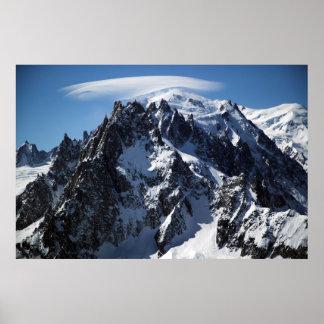 Casquillo blanco:  La cumbre de Mont Blanc Impresiones