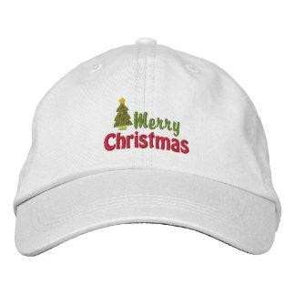 Casquillo bordado de las Felices Navidad Gorra De Beisbol