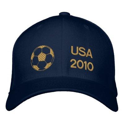 Casquillo bordado oro del balón de fútbol de los E Gorros Bordados