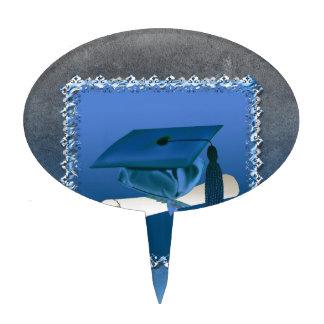 Casquillo con la borla y el diploma, graduación figura de tarta