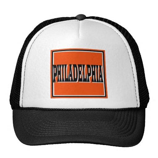 Casquillo cuadrado anaranjado de Philadelphia Gorros Bordados