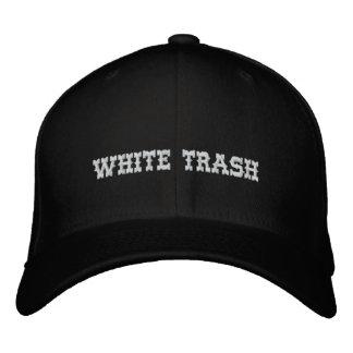 Casquillo de la basura blanca gorras de béisbol bordadas