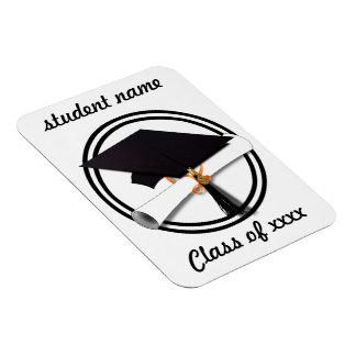 Casquillo de la graduación con el círculo blanco y imán de vinilo