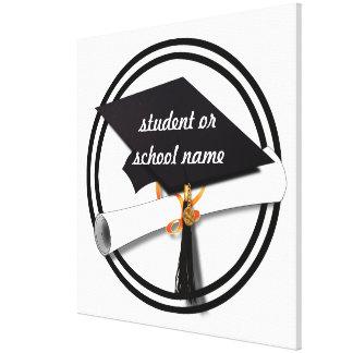 Casquillo de la graduación con el círculo blanco y impresiones en lona estiradas