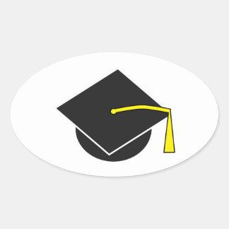 Casquillo de la graduación de la escuela/de la pegatina ovalada