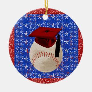 Casquillo de la graduación del béisbol, estrellas, adorno navideño redondo de cerámica