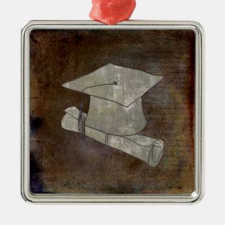Casquillo de la graduación en el papel del vintage adorno navideño cuadrado de metal