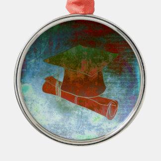 Casquillo de la graduación en el papel del vintage adorno navideño redondo de metal