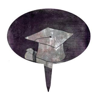 Casquillo de la graduación en el papel del vintage figuras de tarta