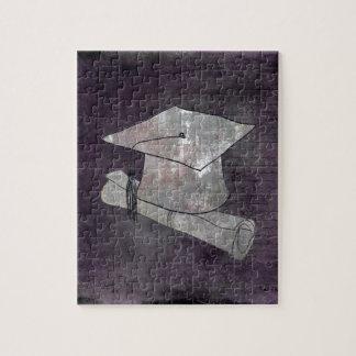 Casquillo de la graduación en el papel del vintage puzzle