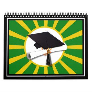 Casquillo de la graduación - la escuela colorea el calendarios de pared