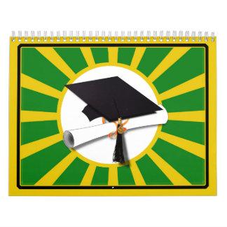 Casquillo de la graduación - la escuela colorea el calendario de pared