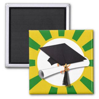 Casquillo de la graduación - la escuela colorea el imán de frigorífico