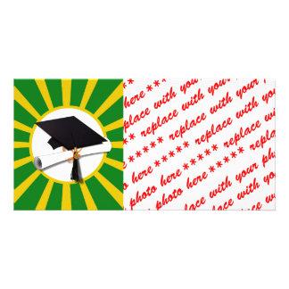Casquillo de la graduación - la escuela colorea el tarjeta fotografica
