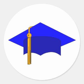 Casquillo de la graduación pegatina redonda