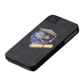 Casquillo de la graduación, tierra w/diploma - iPhone 4 funda
