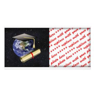 Casquillo de la graduación, tierra w/diploma - pro tarjeta personal con foto