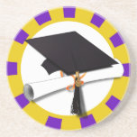 Casquillo de la graduación y diploma (1) púrpuras  posavasos cerveza