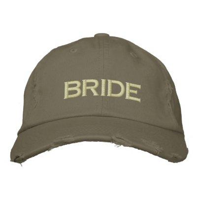 Casquillo de la novia en verde caqui gorra bordada