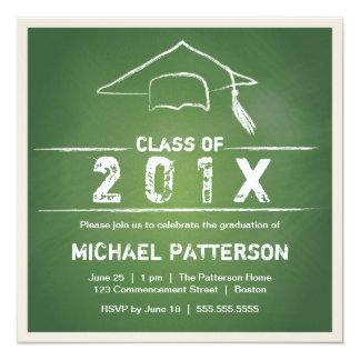 """Casquillo de la pizarra y fiesta de graduación de invitación 5.25"""" x 5.25"""""""