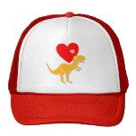 Casquillo de los corazones del amor del dinosaurio gorro de camionero