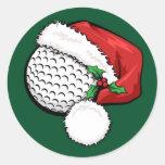 Casquillo de Santa del golf con los pegatinas Etiquetas Redondas