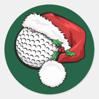 Casquillo de Santa del golf con los pegatinas Pegatina Redonda