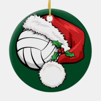 Casquillo de Santa del voleibol con el ornamento Adorno Navideño Redondo De Cerámica