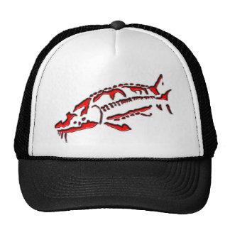 Casquillo del esturión - diseño fantasma rojo gorras