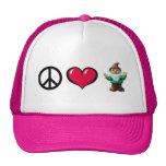 Casquillo del gnomo del corazón de la paz gorras de camionero