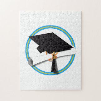 Casquillo del graduado con el diploma - oro y Lt Puzzle